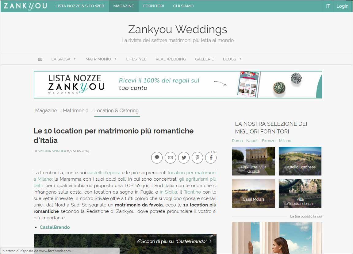 Le 10 location per matrimonio più romantiche d'Italia